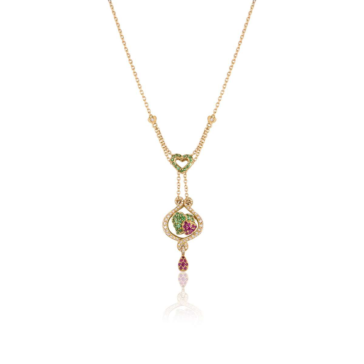 Yellow Gold Diamond and Gem Set Heart Pendant